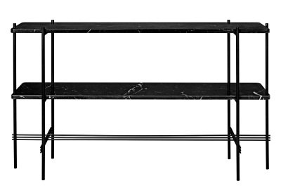 TS Rectangular Console Table with Two Marble Plates Black Plates and Black Frame