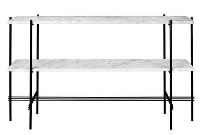 TS Rectangular Console Table with Two Marble Plates White Plates and Black Frame