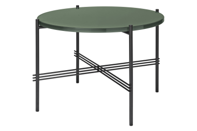 TS Round Coffee Table with Glass Top Dusty Green Top and Black Frame, Ø 55 x 41 cm