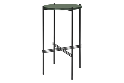 TS Round Console Table with Glass Top Dusty Green Top and Black Frame