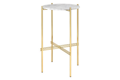 TS Round Console Table with Marble Top White Top and Brass Frame