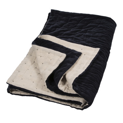 Velvet Linen Quilt Navy & Natural Linen