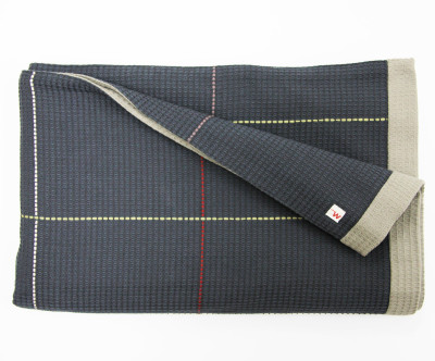 Waffle Throw Navy and Grey
