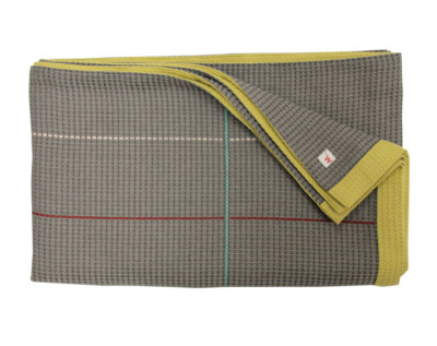 Waffle Throw Taupe & Olive