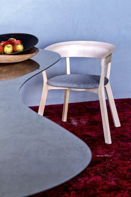 Wood Bikini Dining Chair with Upholstered Seat A4500 - Art.48045 - 206 beige