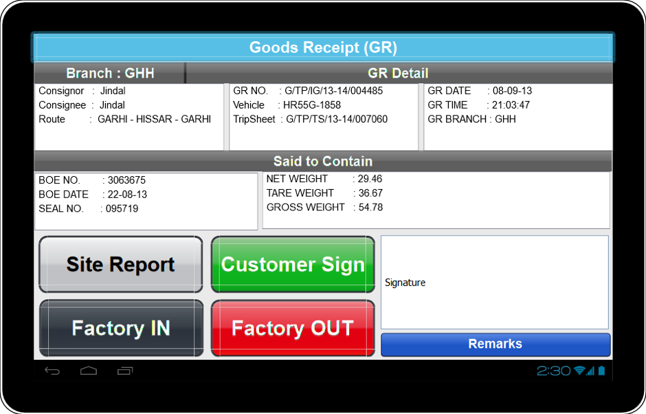 Logistic tablet Client