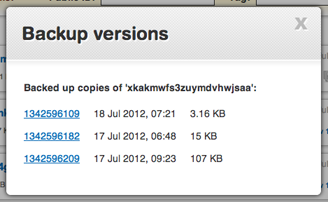 Backup revisions