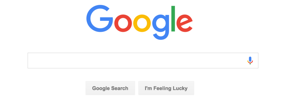 Google's homepage with their new logo