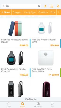 bidorbuy products page screenshot