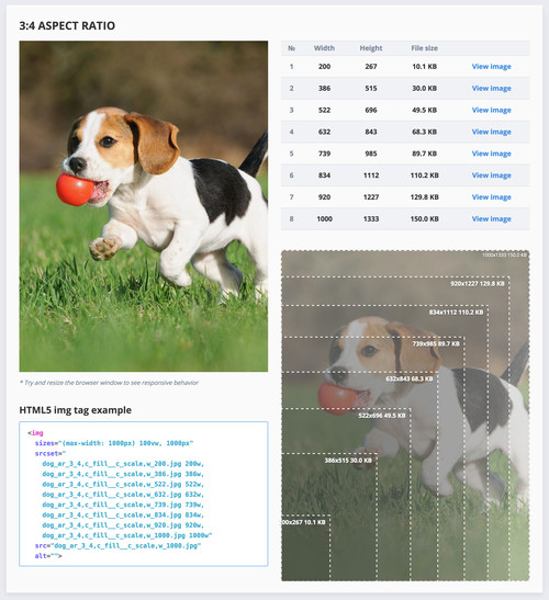 Cropped image to match aspect ratio with auto generated breakpoints