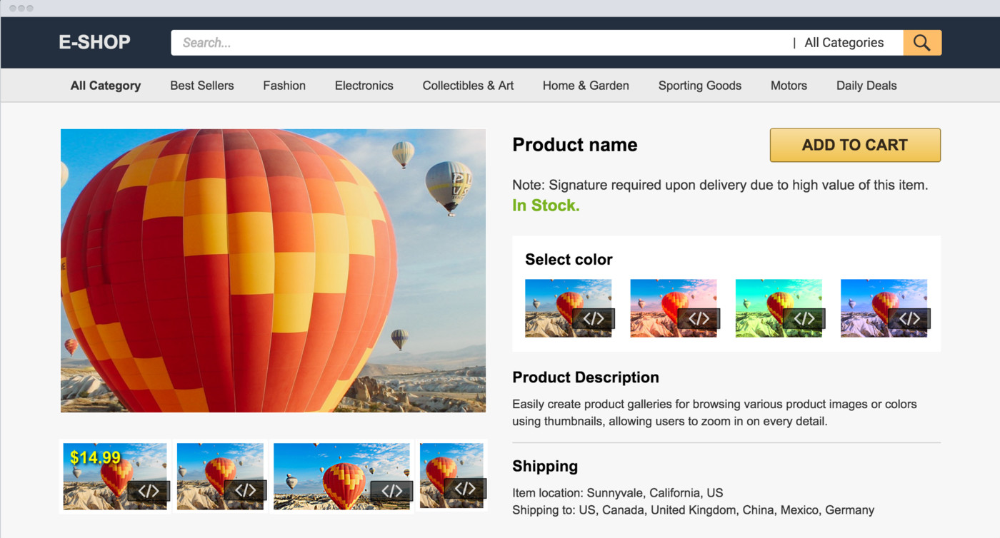 Image management in ecommerce