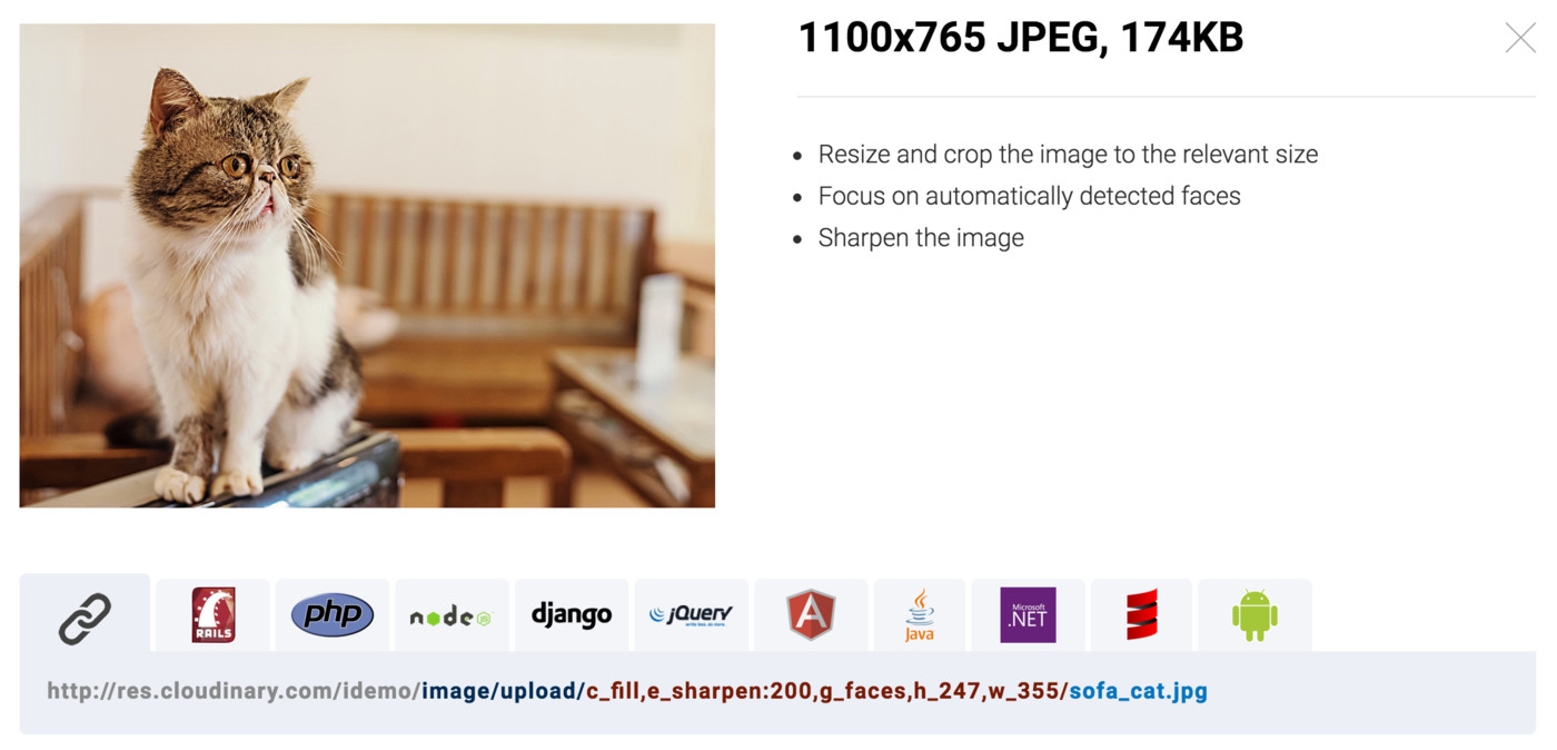 Resize and crop images from code