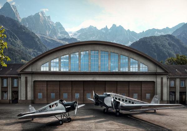 Links die Junkers F13 ...