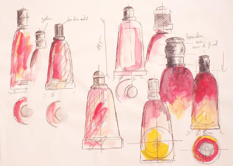 Fahrenheit, Skizzen für den Flakon, 1988