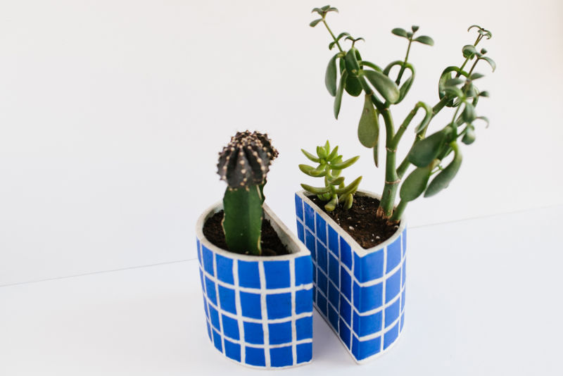 Cerulean Grid Planter Bookends
