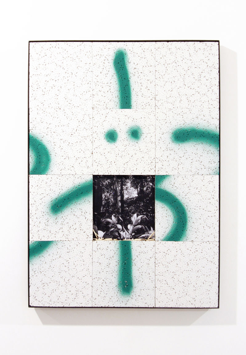 Bryn Lloyd-Evans Shuffle on Three O´clock O´clock 2014, Ceiling tiles, match sticks, mdf, photocopy, spray-paint, steel, tape