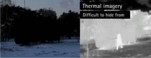 Cámara IP térmica captura persona a través de fondo difícil