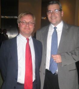 Martin Gren, fundador de Axis e inventor de la primera cámara IP y Daniel Fajardo V. de Cóndor Comunicaciones.