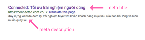 Meta title & meta description sẽ được thể hiện trên kết quả tìm kiếm như trên.