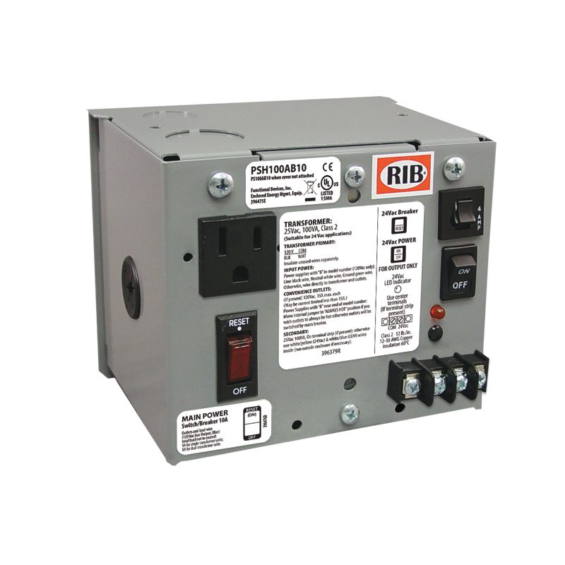 PSH100AB10 - Power Supply,100Va,120 - 24Vac, 10A Breaker