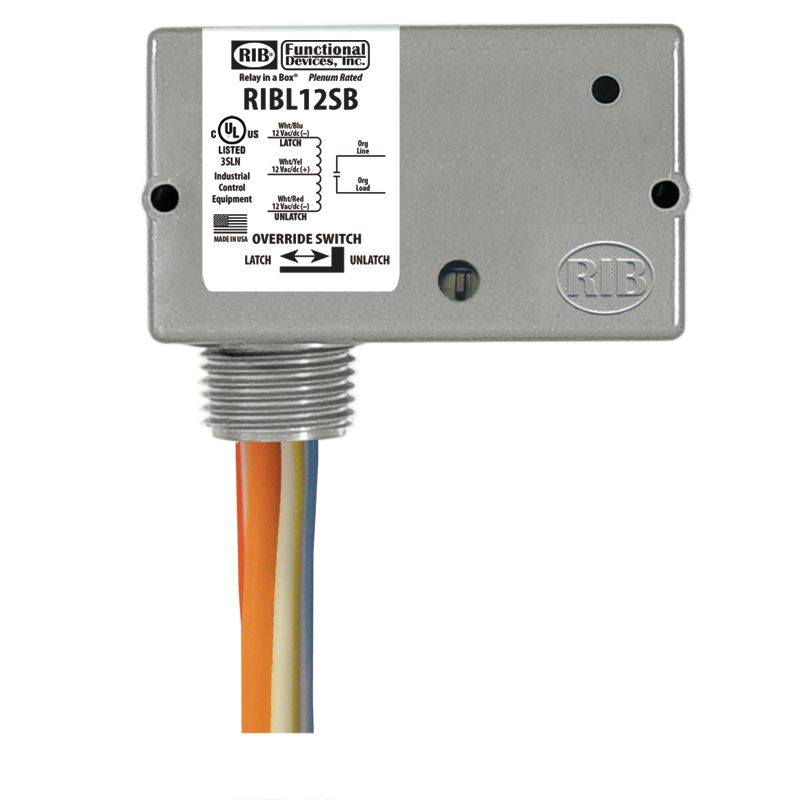 RIBL12SB - Enc Relay Latching 20Amp 12Vac/dc w/ Switch