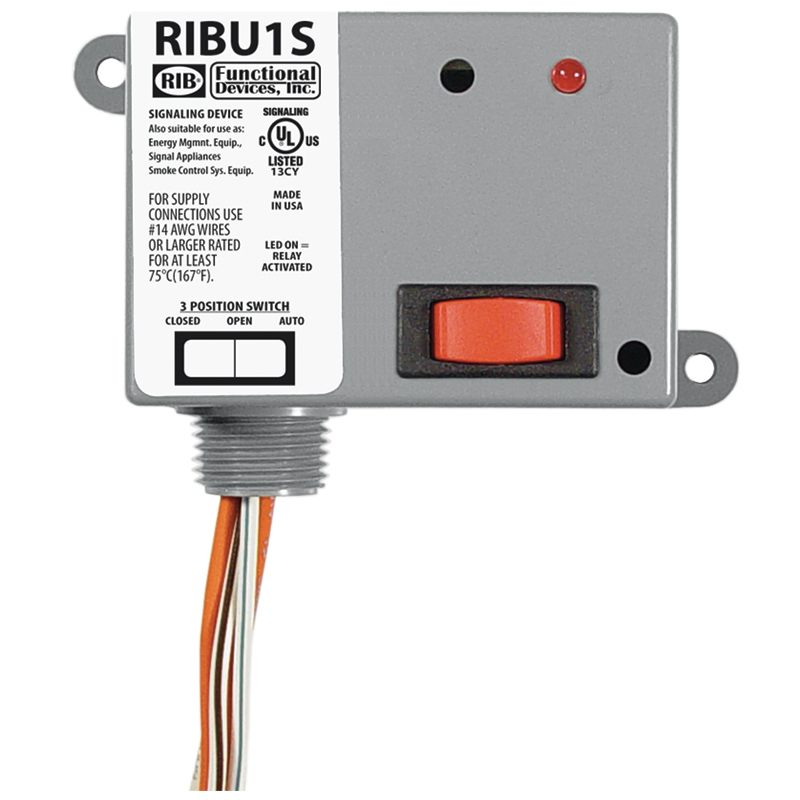 RIBU1S - Enclosed Relay 10Amp SPST-NO + Override 10-30Vac/dc/120Vac