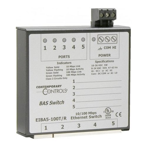 EIBA5-100T/R Contemporary Controls 5 Port Din Mount 10/100 Mbps Switching Hub