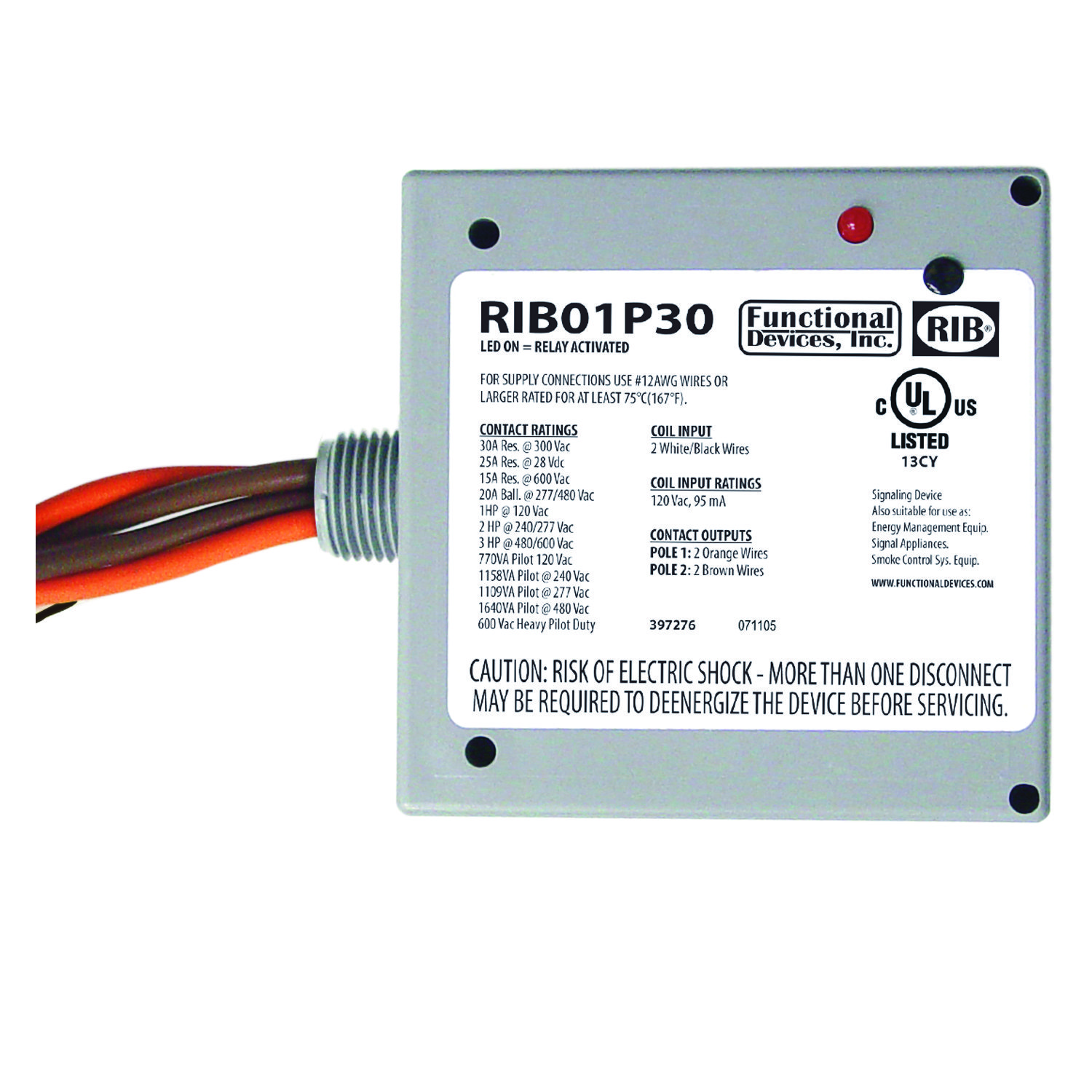 RIB01P30 - Functional Devices Enclosed Relay 30Amp DPST 120Vac