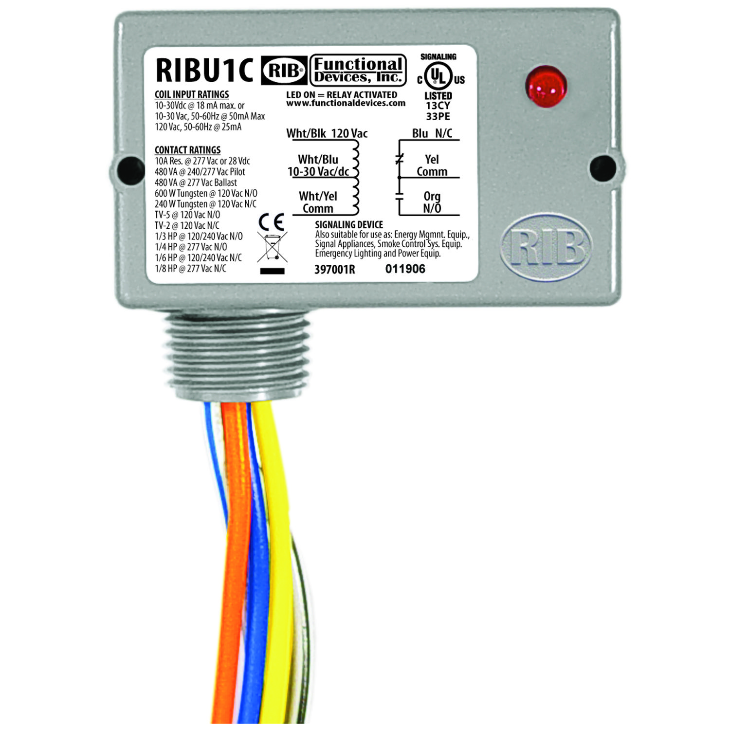 Functional Devices RIBU1C Enclosed Relay