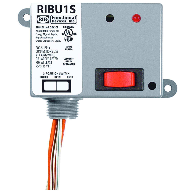 RIBU1S - Enclosed Relay 10Amp SPST-NO + Override 10-30Vac/dc/120Vac