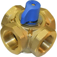"722 - Tekmar Mixing Valve, 4-Way, 1-1/4"" FNPT, Brass, 21 Cv"