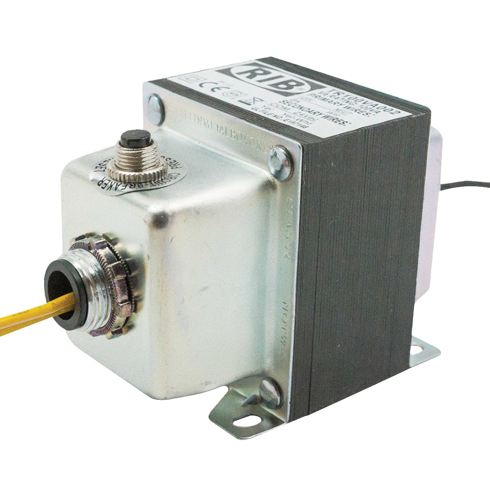 TR100VA002 - Functional Devices 100VA, 120 to 24 Vac, Circuit Breaker, Foot and Dual Threaded Hub Mount