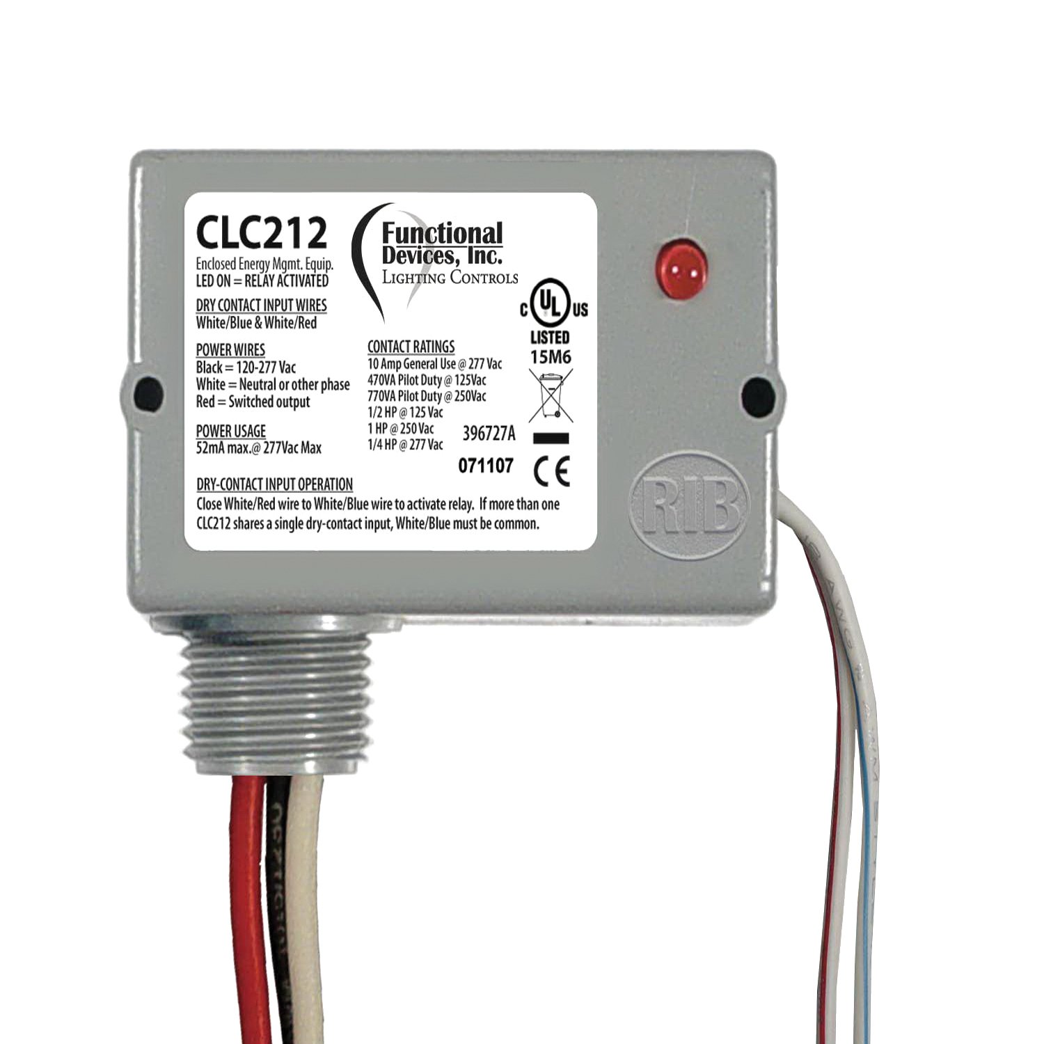 CLC212 - Functional Devices Closet Light Switch, Enclosed Relay, 10A SPST-N/O, 120-277 Vac