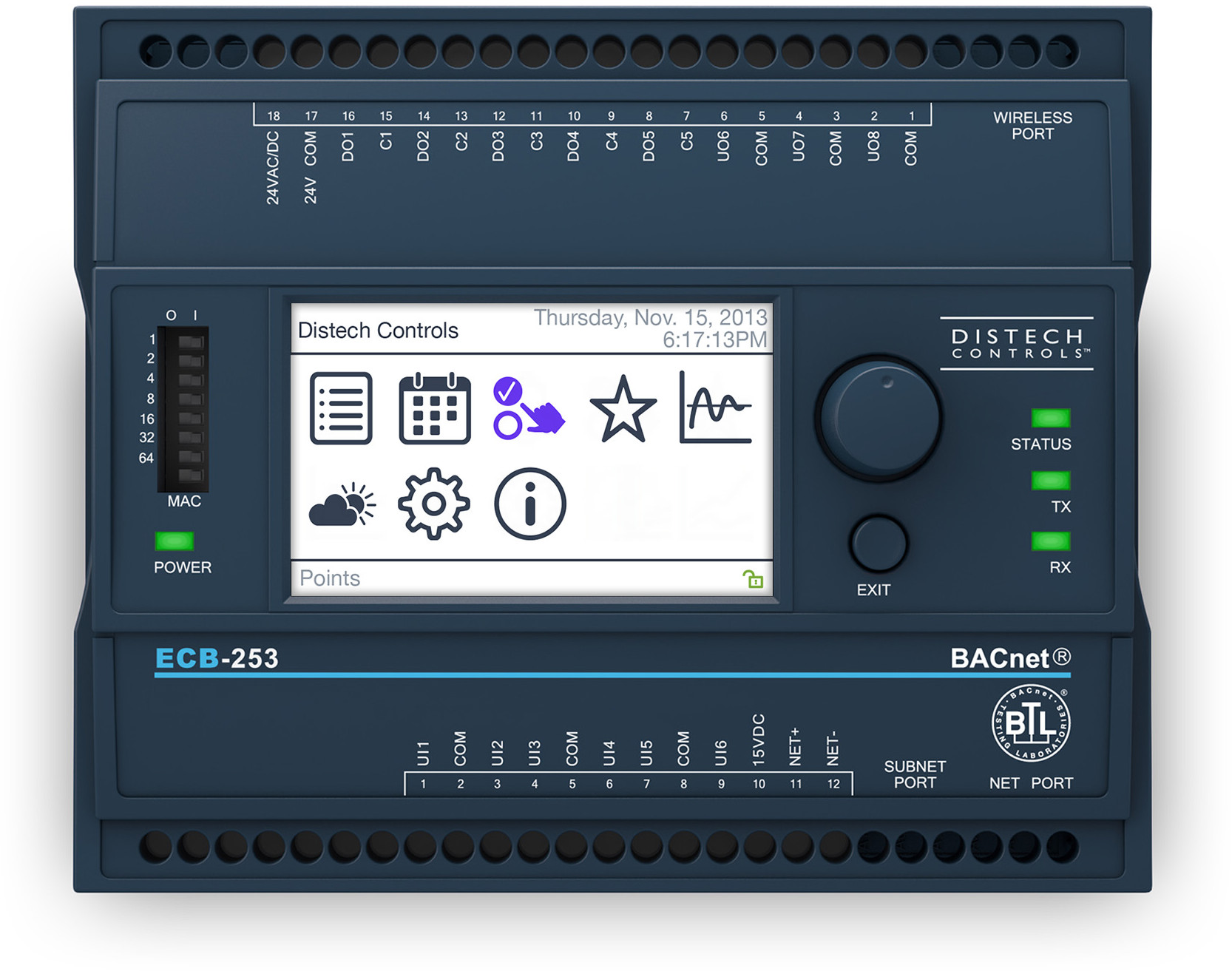 ECB-253 - Distech Controls ECB-253 B-ASC programmable controller with LCD Display, 6UI, 5 DO (Triac), 3 UO.CDIB-253X-00
