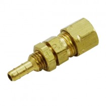 "B-138 - Schneider Electric Bulkhead Barb, Brass, 1/4"" Barb x 1/4"" Comp"