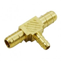 "B-377 - Schneider Electric Barb Tee, Brass, 3/8"" Left x 3/8"" Right x 1/4"" Top"