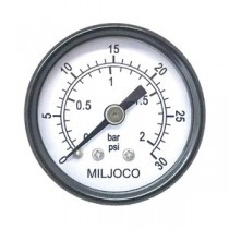 "P1508-03 - Milojoco Utility Pressure Gauge, 1-1/2"" Dial, 1/8"" NPT Center Back Mount, 0 - 30 psi"