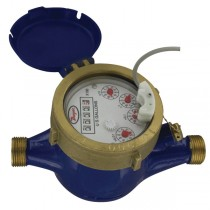 "WMT2-A-C-02 - Dwyer Multi-Jet Water Meter with Pulsed Output, 5/8"" x 3/4"", Brass, 0.1 Gal/pulse"