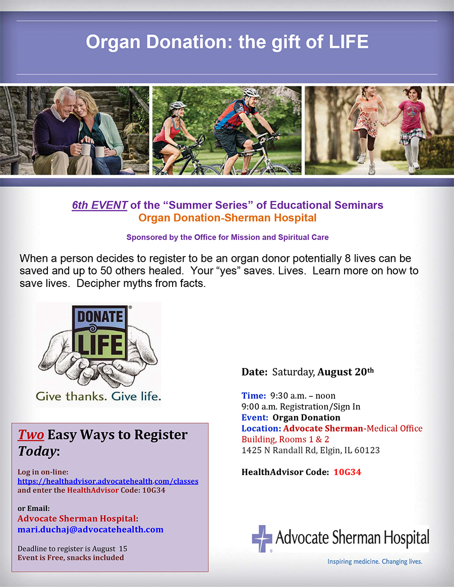 Register today organ donation august 20 sherman vfcmjt