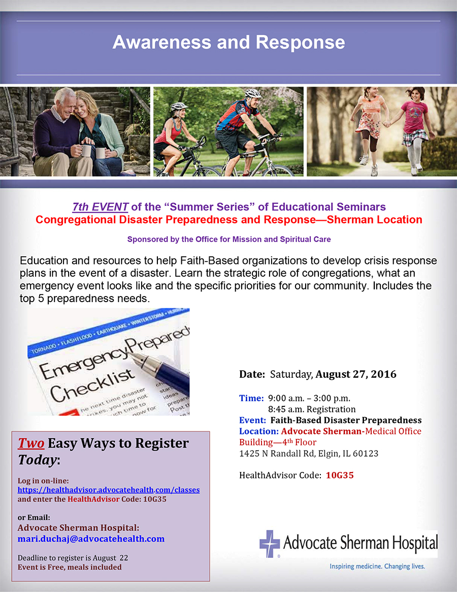 Register today disaster preparedness august 27 sherman vhfkbr