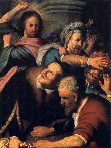 361px rembrandt christ driving the money changers from the temple qxksmi