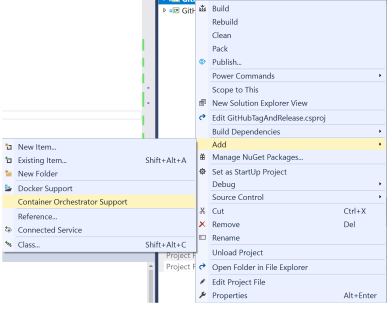 Visual Studio Project context menu showing Docker commands.