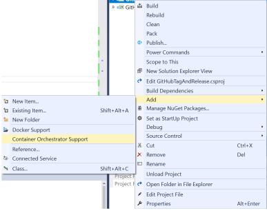 Visual Studio Project context menu showing Docker commands.
