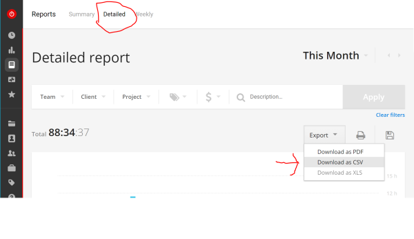 Export Toggl Report data using detailed.