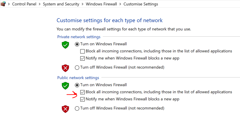 Customise Firewall settings to allow applications through.