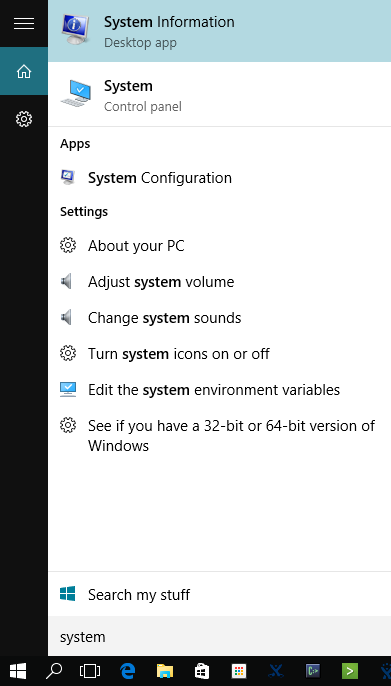 Search for System Information using Windows Search.