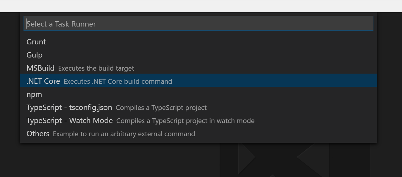 Select .Net Core from the options.