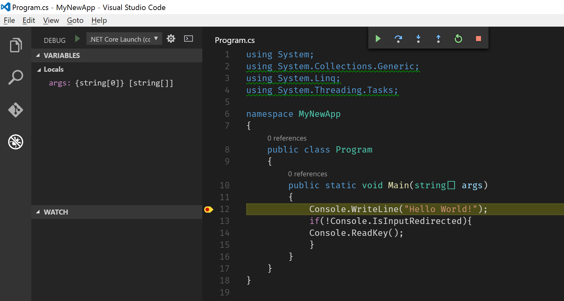 Breakpoint hit during debugging on Visual Studio Code.