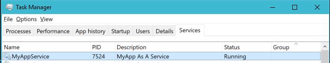 MyApp running as a Service