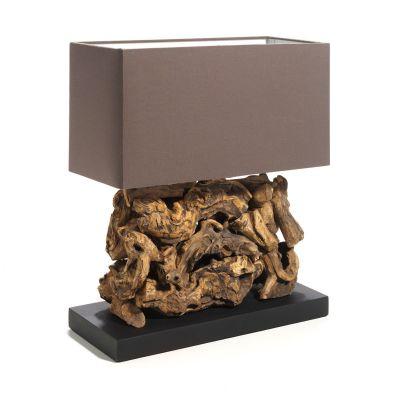 Tischleuchte Wood II, Naturholzverzierungen